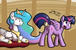 2015 alicorn anal anal_insertion anal_sex anus ass cutie_mark duo english_text equine female feral friendship_is_magic hair horn insertion mammal multicolored_hair my_little_pony open_mouth penetration princess_celestia_(mlp) purple_eyes pussy scroll scrunchy_face text twilight_sparkle_(mlp) unamused whatsapokemon wings