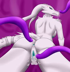 after_sex angry anthro anus ass big_breasts breasts cum cum_in_ass cum_in_mouth cum_in_pussy cum_inside female fur legendary_pokémon looking_back lying nintendo nipples nude on_front pokemon pussy reshiram simple_background tentacle testowepiwko under_boob video_games