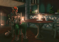 2015 4_toes animal_genitalia anthro argonian bar biceps brown_scales candle chair claws clothed clothing digital_media_(artwork) digitigrade dragon erection feathers fireplace green_eyes half-dressed horn looking_at_viewer male masturbation muscles orange_feathers pants penis precum presenting scalie scritt shiny sitting smile solo tavern teeth the_elder_scrolls toe_claws toes topless video_games