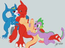 2015 anthro arashidrgn balls blue_eyes charmander claws digimon dragon erection friendship_is_magic group group_sex horn male male/male my_little_pony nintendo nude penis pokemon scalie sex signature spike spike_(mlp) threesome tongue uncut veemon video_games