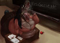 alligator blush eating female invalid_tag male mangoicy open_mouth reptile scalie tongue tongue_out vore
