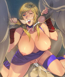 1girl blonde_hair bonne_jenet breasts censored cowgirl_position cum cum_in_pussy cumshot double_handjob ejaculation fatal_fury female foursome handjob homare_(fool's_art) king_of_fighters large_breasts mark_of_the_wolves one_eye_closed penis riding sex snk