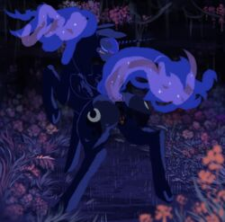 2015 alicorn anus ass blue_hair blush clearing clitoris closed_eyes equine female flower forest friendship_is_magic ghost-town grass hair horn horse mammal mane my_little_pony night one_eye_closed plant pony presenting princess_luna_(mlp) pussy solo star tree vines wings wink