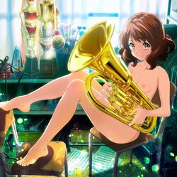 barefoot breasts brown_hair chair euphonium feet female hibike!_euphonium highres instrument leg_grab looking_at_viewer lying nipples nude nude_filter oumae_kumiko short_hair sitting small_breasts smile solo toes