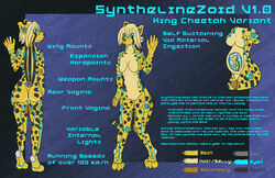 android anthro big_breasts breasts cheetah dragonmanmike feline female gender_transformation glowing glowing_eyes hair looking_at_viewer machine mammal mecha model_sheet nude pussy robot rubber simple_background solo spots transformation