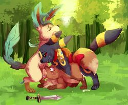 eevee eeveelution emma_the_eevee fellatio female group group_sex kipa leafeon male nintendo oral pokemon qwazzy sex threesome umbreon vaginal_penetration video_games