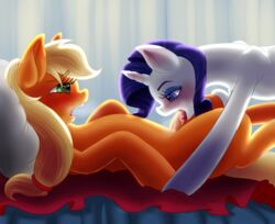 2015 applejack_(mlp) blonde_hair blue_eyes blush duo earth_pony equine eyeshadow female female/female feral friendship_is_magic hair half-closed_eyes horn horse icariusunlimited long_hair lying makeup mammal my_little_pony on_back open_mouth oral pillow pony pussy_juice rarity_(mlp) sex tongue unicorn