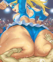blonde_hair capcom costume curvy dat_ass female giantess huge_ass large_ass large_breasts mask pogojo rainbow_mika sitting solo street_fighter thick_thighs twintails wide_hips