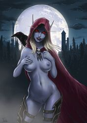 artist_request blue_skin breasts cape crow facial_mark hood lipstick looking_at_viewer navel nipples nude pubic_hair pussy red_eyes sylvanas_windrunner white_hair world_of_warcraft