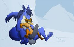 2015 anthro anthro_on_feral balls big_balls big_penis black_penis blue_body blue_eyes blue_fur breasts brown_body brown_fur canine dragon female feral fluff_dragon fur furred_dragon green_eyes hair ice interspecies keryth knot kyzer male male/female mammal mane paws penis precum pussy pussy_juice size_difference smile snow teeth wolf yellow_eyes zoophilia