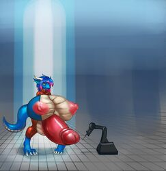 4_toes anthro areola big_breasts big_penis blue_hair blue_scales breasts claws clothed clothing dickgirl dragon drakkece_drakahlis erection exposed growth hair horn huge_breasts hyper hyper_breasts hyper_penis intersex jumpsuit lewded multicolored_hair multicolored_scales nipples open_mouth pants paws penis pink_hair rubber scales scalie smile standing tan_scales toe_claws toes two_tone_hair two_tone_scales