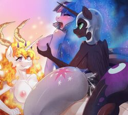 2015 alicorn anal anal_sex anthro anthrofied areola big_breasts breasts closed_eyes cum cutie_mark dickgirl dickgirl/female double_penetration equine female freedomthai friendship_is_magic green_eyes group group_sex hair helmet horn intersex intersex/female mammal multicolored_hair my_little_pony nightmare_moon_(mlp) nipples open_mouth penetration penis princess_celestia_(mlp) purple_eyes sex threesome twilight_sparkle_(mlp) unicorn vaginal_penetration vaginal_penetration wings