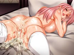 after_sex anus ass bed breasts censored cum cum_in_ass cum_in_pussy dead_or_alive female g_kilo-byte honoka_(doa) huge_breasts pink_hair pussy saberfish shiny_skin white_legwear