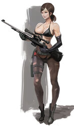 bikini boots brown_hair cleavage female gloves metal_gear_solid metal_gear_solid_v mikazukishigure pantyhose ponytail quiet quiet_(metal_gear) sniper_rifle solo standing underboob weapon
