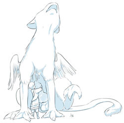 1boy aogami clothed cum cumdrip erection feathers lolicon male_focus monochrome penis short_hair the_last_guardian trico_(character) zoophilia