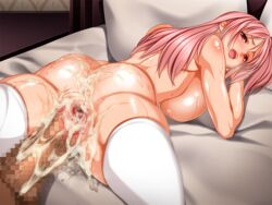 anus ass bed breasts censored cum cum_in_ass cum_in_pussy dead_or_alive female g_kilo-byte honoka_(doa) huge_breasts huge_cock penis pink_hair pussy saberfish sex shiny_skin vaginal_penetration white_legwear