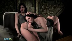 3d :>= animated ass black_hair choker cleavage corset dickgirl erection fellatio female flash89 futa_on_female futanari head_grab large_penis long_hair navel oral penis selfcest sitting source_filmmaker testicles the_witcher the_witcher_3 yennefer