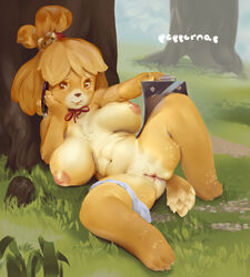 animal_crossing anthro blonde_hair breasts canine female isabelle_(animal_crossing) large_breasts nintendo nipples nude panties_around_one_leg peppernap pussy ribbon sitting solo tail