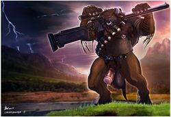 2015 ammo_belt anthro balls big_balls bin_(artist) bovine buffalo chubby clothing corvuspointer facial_piercing fingerless_gloves gloves gun hooves horn lightning mammal minotaur musclegut nipple_piercing nipples nose_piercing nose_ring penis piercing ranged_weapon rifle sniper_rifle solo storm taur tauren weapon