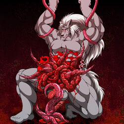 blood bound entrails erection gore guro male monster muscular tentacle unknown_artist