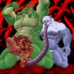 blood canine dragon entrails erection gore guro male male/male mammal muscular nipples tentacle unknown_artist vore wolf