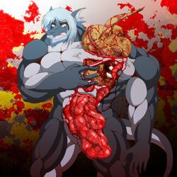blood dragon entrails gore guro hair male monster muscular unknown_artist