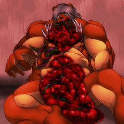 bear blood entrails gore guro male mammal monster muscular tentacle unknown_artist