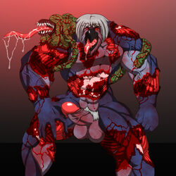 avian bird blood entrails erection gore guro male monster muscular unknown_artist