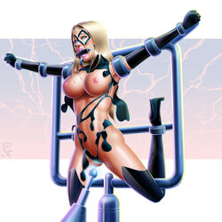 avengers belly blonde_hair blue_eyes breasts captain_marvel carol_danvers domino_mask elbow_gloves female gloves high_heels large_breasts legs lips lipstick long_hair makeup marvel marvel_comics mask ms._marvel navel nipples pink_lips pink_lipstick shoes solo teeth thesaintofpain thighs torn_clothes