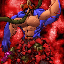 behemoth blood entrails gore guro male monster muscular tentacle unknown_artist