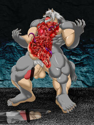 blood canine entrails erection gore guro male mammal muscular unknown_artist wolf