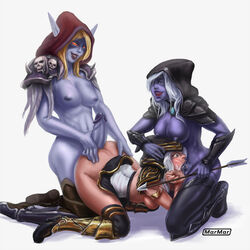 3girls :>= armor arrow ashe ass blonde_hair blue_eyes blue_skin blush bottomless breasts caucasian deepthroat dota_2 drow_ranger elf fellatio female from_behind futa_on_female futanari hood intersex kneeling league_of_legends marmar navel nipples nude penis purple_skin red_eyes smile spitroast sylvanas_windrunner tears threesome uncensored warcraft white_hair