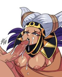 areolae bigdead93 blue_eyes cum cum_in_mouth dark_nipples dark_skin fellatio female half-closed_eyes highres large_penis licking mighty_morphin_power_rangers nipples oral penis power_rangers rita_repulsa short_twintails silver_hair twintails