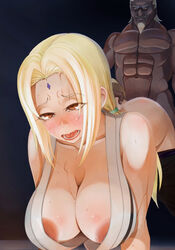 abs ahe_gao bent_over blonde_hair blush breasts brown_eyes clothed_female_nude_male dark-skinned_male dark_skin doggy_style female forehead_mark human interracial large_breasts male naruto navel nipples no_bra open_mouth raikage saliva sex straight sweat top-down_bottom-up tsunade vaginal_penetration