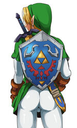 1boy ass from_behind link male_focus male_only simple_background solo the_legend_of_zelda tights