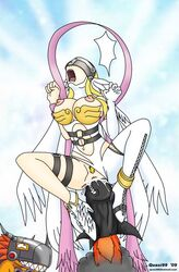 2009 5_fingers angel angewomon big_breasts blonde_hair breasts clothed clothing digimon dildo dinosaur dripping duo feathers female fire forced gloves hair half-dressed helmet horn humor insertion laugh legwear long_hair male mammal metalgreymon missile nipples open_mouth orange_scales penetration pussy pussy_juice quasi99 raptor red_hair scales scalie sex_toy sharp_teeth smile suspended_in_midair teeth tights toned tongue vaginal_penetration wings