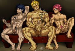 3boys abs artist_name blonde_hair blonde_pubic_hair blue_hair chest_tattoo couch cum fairy_tail gray_fullbuster human large_penis laxus_dreyar leg_lift male male_only masturbation multiple_boys muscle natsu_dragneel nude pink_hair sitting spiked_hair tattoo yaoi