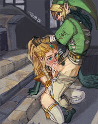 cum cum_in_mouth fellatio female link male nintendo oral princess_zelda temixart the_legend_of_zelda