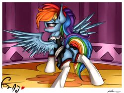 2015 absurd_res alternate_hairstyle anus ass blue_fur blush clothing dock equine female feral friendship_is_magic fur hair hairbow hi_res legwear maid maid_uniform mammal multicolored_hair my_little_pony neko-me pegasus photo pink_eyes ponytail pussy pussy_juice rainbow_dash_(mlp) rainbow_hair rainbow_tail solo spread_wings thigh_highs wings