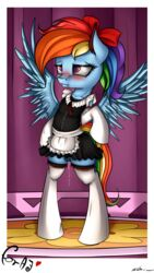2015 absurd_res alternate_hairstyle biped blue_fur blush clitoris clothing equine female feral friendship_is_magic fur hair hairbow hi_res legwear maid maid_uniform mammal multicolored_hair my_little_pony neko-me pegasus photo pink_eyes ponytail pussy pussy_juice rainbow_dash_(mlp) rainbow_hair rainbow_tail solo spread_wings thigh_highs wings