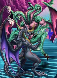 anthro ass bahamut biceps claws digitigrade dragon female final_fantasy final_fantasy_ix horn hydra male muscular nude pussy reptile rollwulf scalie tiamat tongue video_games western_dragon wings