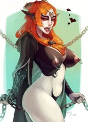 breasts chains circlet cyanmint fangs female large_breasts long_hair midna navel nintendo nipple_piercing nipple_ring nipples orange_hair piercing pointy_ears red_eyes solo standing the_legend_of_zelda twili_midna twilight_princess two-tone_skin yellow_sclera