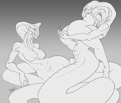 anal anal_insertion anal_sex breasts cobra female human hybrid insertion mammal monochrome penetration pussy reptile scalie slitch snake vore