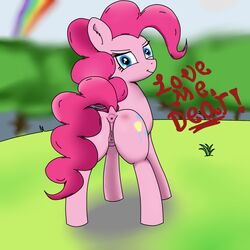2015 equine female hair looking_at_viewer mammal my_little_pony nude pinkie_pie_(mlp) pussy sky_rush smile solo text