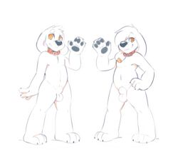 4_fingers alpha_channel amber_eyes anthro balls black_nose brian_griffin canine canine claws collar cousins duo ear_piercing family_guy fully_sheathed fur jasper_(family_guy) male mammal navel nude permavermin piercing sheath simple_background standing toe_claws transparent_background waving white_fur