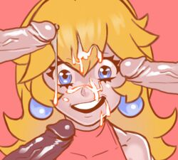 andava bare_shoulders blonde_hair blue_eyes breasts crown cum cum_on_hair earrings facial female human long_hair looking_at_viewer male multiple_penises nintendo nipples open_mouth penis pink_background princess_peach simple_background smile solo_focus straight super_mario_bros.