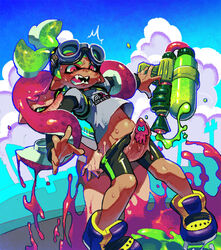 1boy bike_shorts biting censored dark_skin domino_mask fangs female frottage futa_with_male futanari goggles goggles_on_head green_eyes green_hair inkling large_penis mask novelty_censor paint_splatter penis pink_eyes pink_hair restrained shoes shorts shorts_pull sneakers splatoon super_soaker sweat t-shirt tentacle_hair