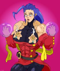 big_breasts big_lips cameltoe erect_nipples female female_only human lactation muscles nipple_rings purple_eyes purple_hair rose_(street_fighter) solo street_fighter