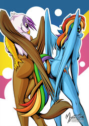 2015 anthro anthrofied ass avian breasts cutie_mark duo equine female female/female friendship_is_magic gilda_(mlp) gryphon hair hand_on_butt hi_res long_hair mammal multicolored_hair my_little_pony mysticalpha nude pegasus pussy rainbow_dash_(mlp) rainbow_hair wings