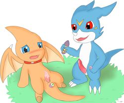 anal anal_insertion anal_sex animal_genitalia anus blue_eyes blush claws cum cum_on_penis digimon dildo duo eraquis grass insertion lying male male/male neopets open_mouth penetration penis precum red_eyes sex_toy shoyru simple_background smile tapering_penis veemon video_games